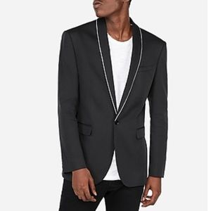 Express Slim Piped Tuxedo Jacket